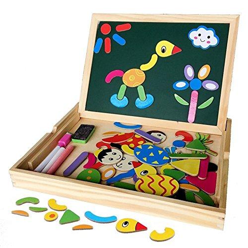 Magnetisches Holzpuzzles Puzzles Zeichnung Holzbrett Spielzeug Lernspielzeug Staffelei Magnet Doodle Jigsaw Puzzles Lernspiel Spiel Pädagogische für Kinder, Tolles Geschenk Kinder Spiele Puzzles