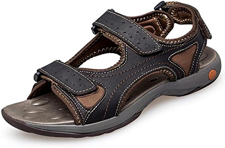 Herren Leder Sandalen Sportlich und Outdoor Schuhe   Sommer Casual Sandalen   Bequeme Strandschuhe   Large 6 14