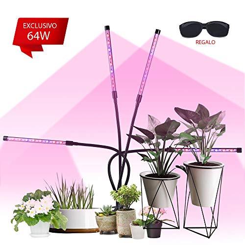 Pflanzenlampe, VAZILLIO 32 COB 64W Pflanzenlicht, Automatische Ein- / Ausschalten Längere Klammer, dickeres Pad, 360 Grad verstellbarer Schwanenhals