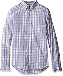 Gant Mens Classic Oxford Plaid Shirt, Lavender Blue, Medium