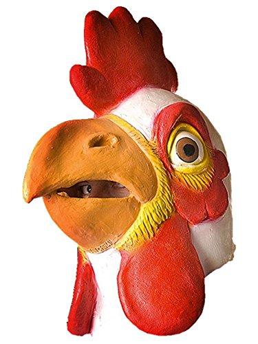Full Head Latex Rubber White Chicken Mask Farm Animal Fancy Dress by (Mask Head Chicken)