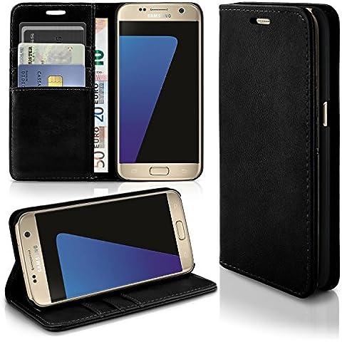 Caso casual para Samsung Galaxy S7 | caso práctico con ranuras para tarjetas y la función del soporte | Bolsa de protección celular OneFlow | La cubierta del tirón en Onyx