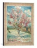 Gerahmtes Bild von Vincent Van Gogh Blühender Pfirsichbaum, Kunstdruck im hochwertigen handgefertigten Bilder-Rahmen, 30x40 cm, Silber Raya