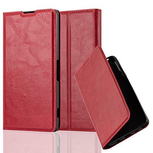 Cadorabo Hülle für Sony Xperia Z2 - Hülle in Apfel ROT - Handyhülle mit Magnetverschluss, Standfunktion und Kartenfach - Case Cover Schutzhülle Etui Tasche Book Klapp Style