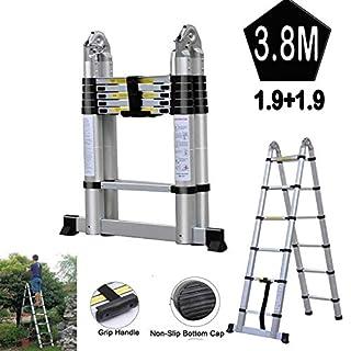 Teleskopleiter, 3,8 m, zusammenklappbar, 1,9 m + 1,9 m, Aluminium, A-Rahmen, Mehrzweck-Leiter, ausziehbar, für Büro/Archiv / Aktenräume/Haushalt