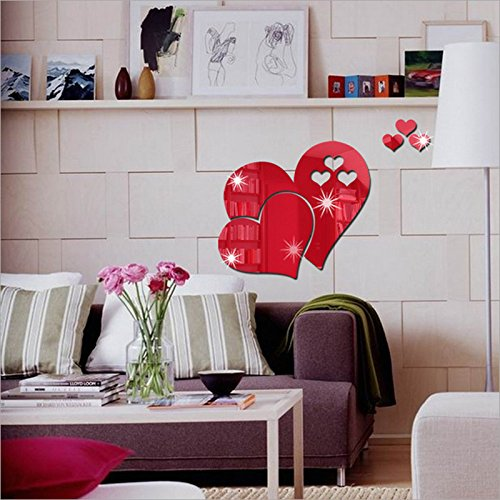 Muamaly Wandsticker, Wandtattoo, Wandsticker, Wanddeko Dekoration, Sticker, Wanddeko Dekoration - 3D Spiegel Love Hearts Wandaufkleber Aufkleber Diy Home Room Art Mural Decor Removable (Rot)