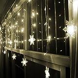 COOSA Schneeflocke LED-Vorhang Lichterkette, Fenster-Licht für Weihnachten, Partei, Festival, Außen- und Innenbeleuchtung Deckendekoration (3,5m warm)