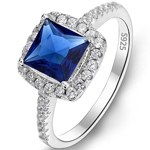 Flyonce Damen Ring 925 Sterling Silber Vintage Stil Prinzessin Schnitt.25ct Zirkonia Daily Ring M
