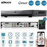 kkmoon ch 4canaux entièrement 1080N/720p AHD DVR HVR NVR réseau P2P Cloud ONVIF Enregistreur vidéo numérique HDMI + Disque dur 1To compatible HD Plug Play pour 2000tvl CCTV caméra de sécurité Système de surveillance