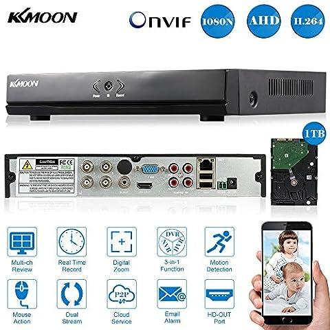 KKMOON 4CH Digital Video Recorder voll 1080N/720p AHD DVR HVR NVR HDMI P2P Cloud Netzwerk Onvif + 1 TB Festplatte unterstützt Plug Play fürr HD 2000TVL CCTV Sicherheit Kamera-Überwachungssystem