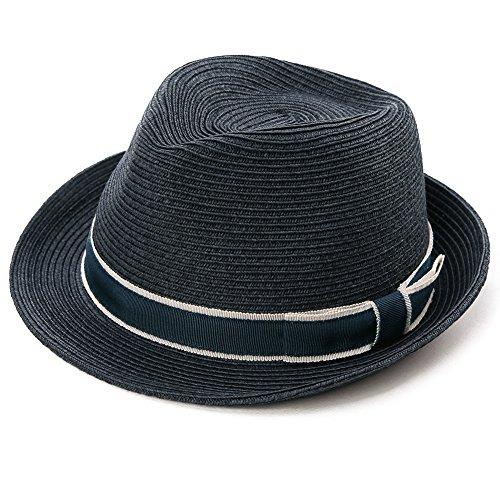SIGGI unisex Sonnenhut Stroh Panama Fedora Strandhut Kurze Krempe schwarzblau