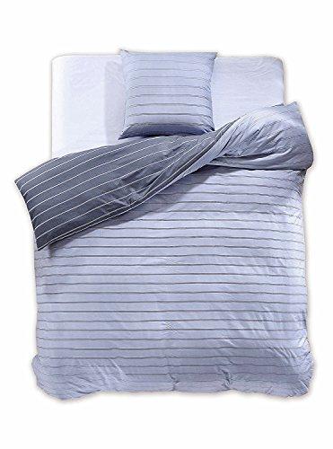 DecoKing 97755 135x200 cm Bettwäsche mit 1 Kissenbezug 80x80 Renforcé Bettwäscheset 100% Baumwolle Reißverschluss Diamond Collection Cabin blau