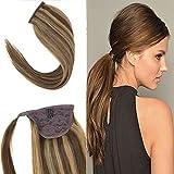YoungSee Extensions Echthaar Haarteil Zopf Braun zu Blond Wrap Around Ponytail Pferdeschwanz Clip in 100% Remy Echthaar Extensions 35 cm 80g