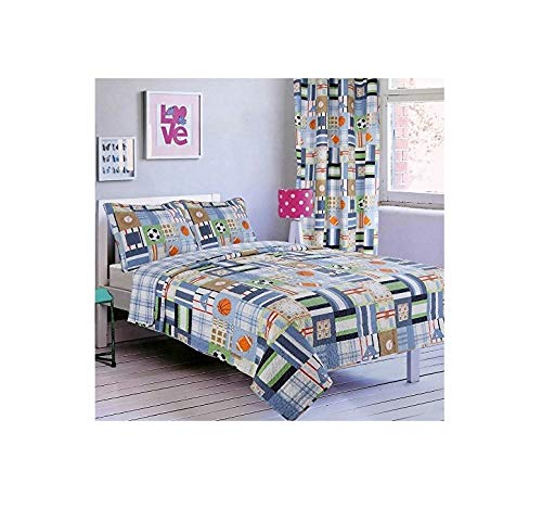 All American Collection New 2PC Set Bedruckte Tagesdecke Twin Size mit Passendem Vorhang 2 PC Bedspread Sports -