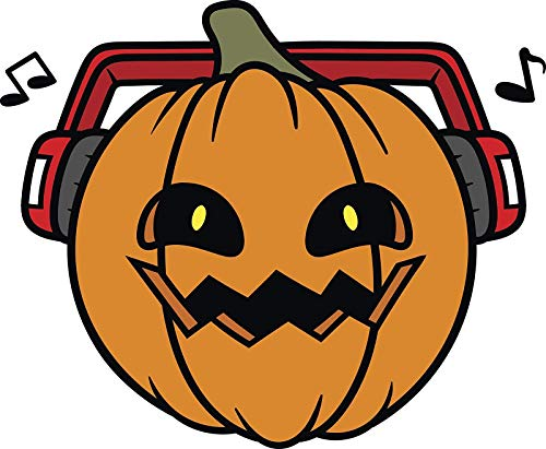 Orange Happy Jack O Lantern with Scary Smile Treat Listening to Music Truck Car Bumper Sticker Vinyl Decal 5