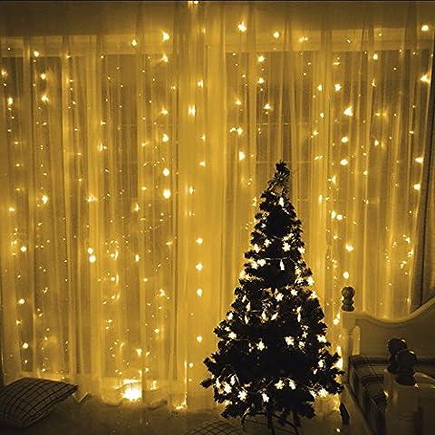 Lixada Lumières de Noël Batterie à Rideau LED Lampe à Cordes Maison Extérieure pour Fête de Mariage Décoration de jardin Éclairage de fond 110V / 220V
