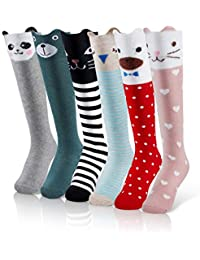 9fe1b1633 iMucci 6 pairs Girls Cute Knee High Socks Cartoon Animal Cotton christmas  stockings
