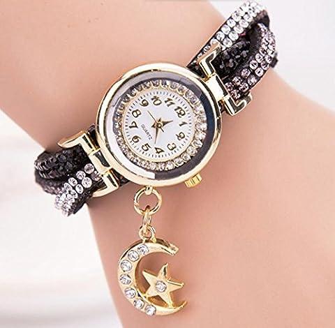 Ladies diamant simple montre numérique moon pendentif bracelet bracelet Milan montre quartz montre montre 9 couleurs , 2