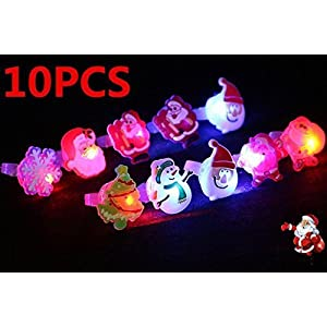 UChic 10 STÜCKE Glowing Finger Ringe Licht Schneemann Weihnachtsmann Schneeflocke Weihnachtsbäume Luminous Ring Lampe für Weihnachten Kinder Spielzeug Party