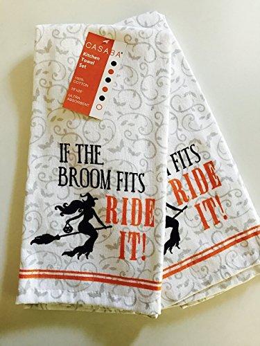 Wenn der Besen passt Ride It-Halloween Hexe Küche Handtücher, Set von zwei