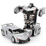 leegoal Transform Robot Car Transformation inerzia Auto Mini Auto deformazione Robot Giocattolo Robot Veicolo 1: 32Bugatti Model Veicolo per Bambini Silver