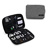 BAGSMART Small Travel Electronics Cable Organiser Bag for Hard Drives, Cables, USB Cable, SD Card (Grey)