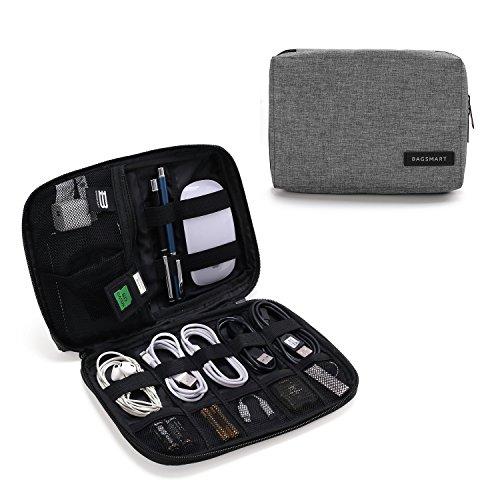 BAGSMART Elektronische Tasche, Elektronik Organizer Reise für Handy Ladekabel, Powerbank, USB Sticks, SD Karten (Grau)  (Elektronische Tasche)