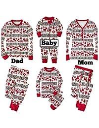 Morbuy Conjunto de Pijamas para Familia de Navidad, Adultos Dos Piezas Familiares Hombre Mujer Niños Niña Pantalones de Manga LargaBaby Romper Set Ropa de Dormir
