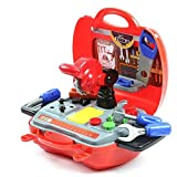 Childrens Pretend Tool Kit Construction Toy Carrycase for Kids Boys 19 Piece