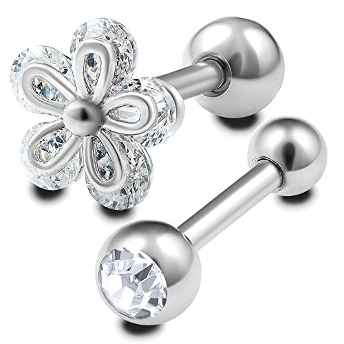 2 Stück straight barbell piercing stab kristall kugel chirurgenstahl 1,2mmx6mm knorpel cartilage ohr rook helix augenbrauenpiercing tragus hantel ohrstecker BFFR