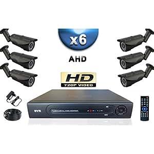 KIT PRO AHD 6 Caméras Tubes IR 40m SONY HD 960P + Enregistreur DVR AHD 1000 Go / Pack de vidéo surveillance - vidéo surveillance