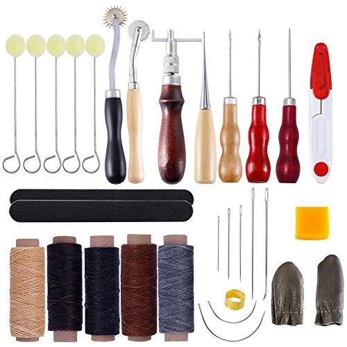 Lot de 31 outils de couture pour reliure en cuir, livres et papiers faits à la main avec aiguilles à coudre/fil ciré/alêne et ainsi de suite.