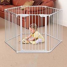 Barrera seguridad Doblado Baby Playpen Con Puerta Hogar Interior Al Aire Libre Blanco Metal Kids 6 Panel Valla Seguridad Play Center Yard,