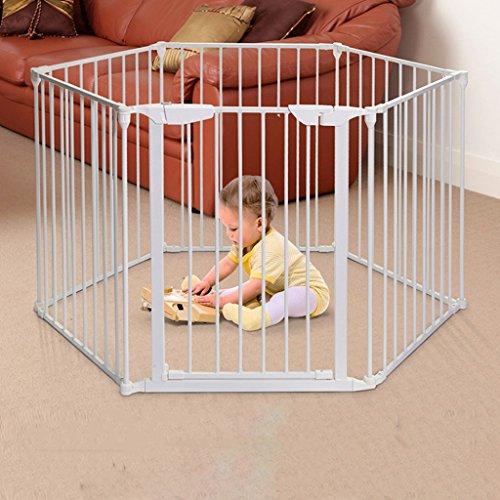 Gefaltetes Baby Laufgitter Mit Tür Home Indoor Outdoor White Metall Kinder 6 Panel Zaun Sicherheit Spiel Center Yard, (Panel Holz-tor)