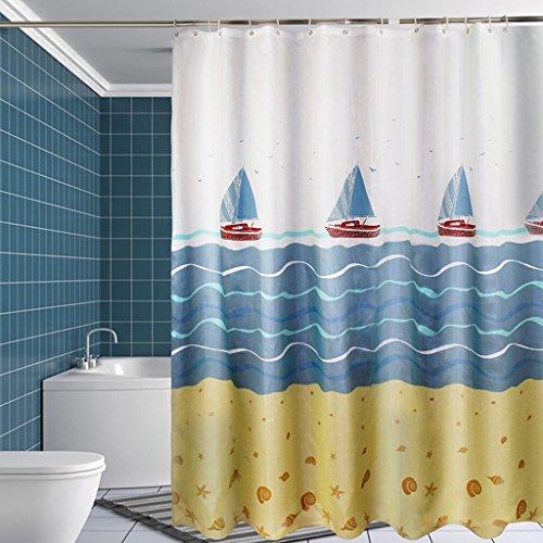 ZHEN GUO Bagno Blue Sea E Sailboat Shower Curtain Ispessito Impermeabile Mildewproof Poliestere
