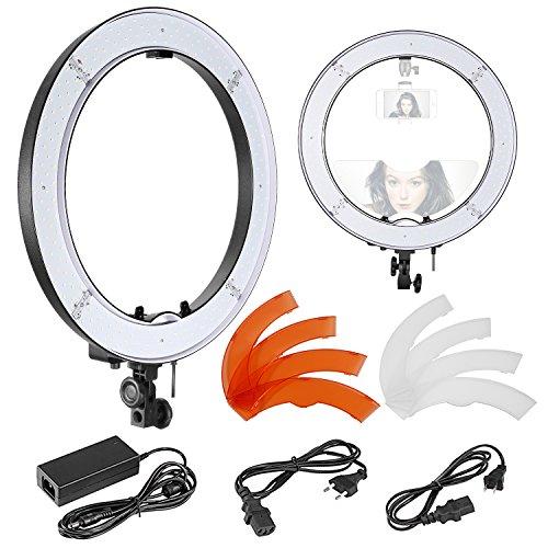 Neewer Ring Light 48cm SMD LED Lumière Anneau avec Dual Sabot et Filtres, Dimmable 5500K Selfie Lampe pour Caméra/Smartphone pour Maquillage Portrait Studio Youtube Vidéo