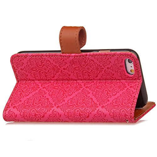 JAWSEU Coque Etui pour iPhone 6/6S 4.7,iPhone 6 Leather Case with Strap,iPhone 6S Etui en Cuir Folio Flip Wallet Cover Case,2017 Neuf Style Femme Homme Up and Down Unlock Holster Rabat Portefeuille ét Rose rouge*