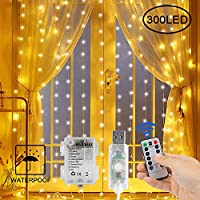 Gluckluz Window Curtain String Lights Battery USB Powered Fairy Twinkle Starry Lighting 300 LED Decor Light with Timer 8 Modes Remote for Indoor Outdoor Bedroom Home Wedding Party (Warm White)
