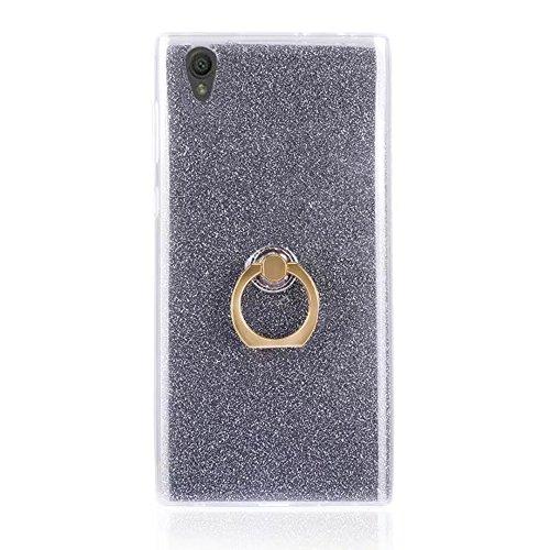 EKINHUI Case Cover Soft Flexible TPU Back Cover Case Shockproof Schutzhülle mit Bling Glitter Sparkles und Kickstand für Sony Xperia L1 ( Color : Black ) Black
