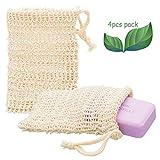 ECENCE 4X Sisal Seifenbeutel Seifensäckchen Set Bio Natur Seifennetz plastikfreie Produkte...