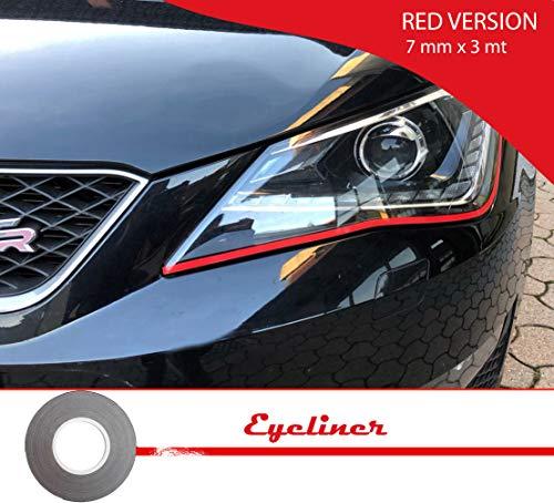 Quattroerre 10800 Stripes Adesive Eyeliner für Scheinwerfer Auto, rot