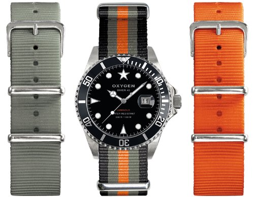 Oxygen - EX-D-AMS-40-3S - Diver - Montre Homme - Quartz Analogique - Cadran Noir - Bracelet Nylon Multicolore