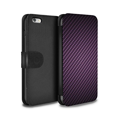 STUFF4 PU-Leder Hülle/Case/Tasche/Cover für Apple iPhone 6+/Plus 5.5 / Lila Muster / Kohlenstoff-Faser-Muster Kollektion (Iphone Fall Kohlenstoff-faser Plus 6)