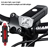 ilauke [Anti Glare] Bike Cycling Light Set Super Bright USB Rechargeable with Front Headlight + Red COB LED Rear Light