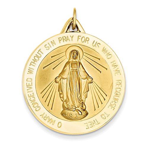 14K Gelb Gold Wundertätige Medaille Anhänger xac209 (Wundertätige Medaille 14k Gold)