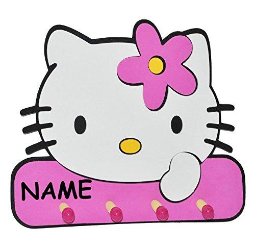 3-D Garderobe - Hello Kitty incl. Namen - mit 4 Kleiderhaken Moosgummi - Garderobenhaken Wandhaken Kinder Kindergarderobe Kind Wandgarderobe Haken - Kleiderhaken - Wandgarderobe  Moosgummi  Kinderzimmer Katze Kätzchen