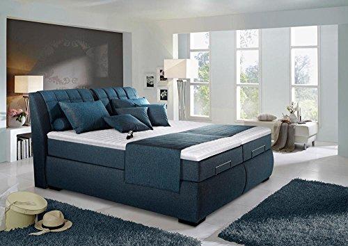 Boxspringbett in blau schwarz, elektrisch, 2 Tonnentaschenfederkernmatratzen auf Taschenfederkern, 2 Gelschaumtopper, Maße: 180 x 200 cm