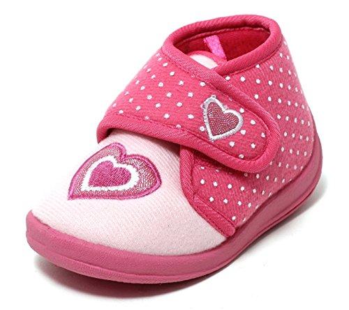 Zapato Mädchen Hausschuhe Slipper Kinderschuhe Mädchenschuhe Softschuhe Klettschuhe Kinder Kleinkinder Schuhe rosa Glitzer Herz mit Klettverschluss Gr. 22-26 (24)