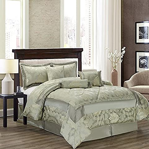 New Luxury 7Pcs (Piece) Jacquard Quilted Bedspread Comforter Set Bedding Sets + 2 Pillow Shams Double & King Free P&P (KING, Betty Light
