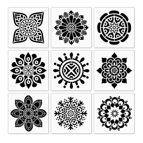 9pezzi di plastica pittura stencil, stile retrò fiori disegno spruzzatura modelli 6× 15,2cm, per legno, pareti, piastrelle, tessuto modello, DIY pittura arte decorazione